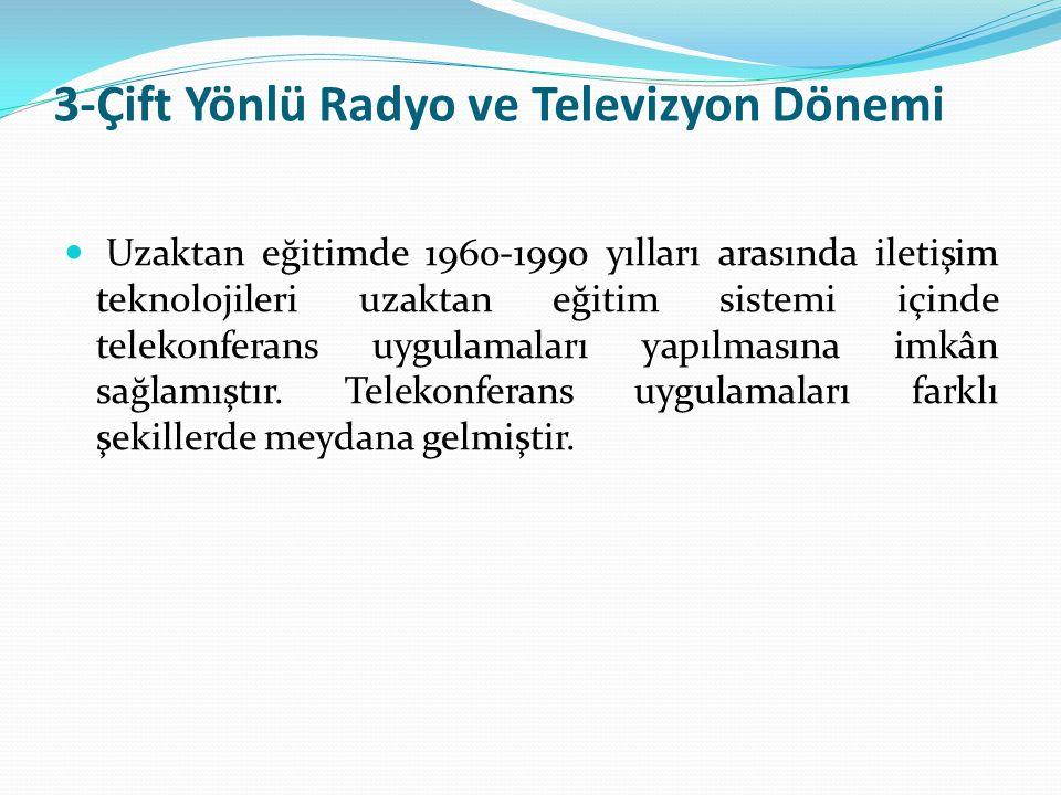 3-Çift Yönlü Radyo ve Televizyon Dönemi Uzaktan eğitimde 1960-1990 yılları arasında iletişim teknolojileri uzaktan eğitim sistemi içinde telekonferans