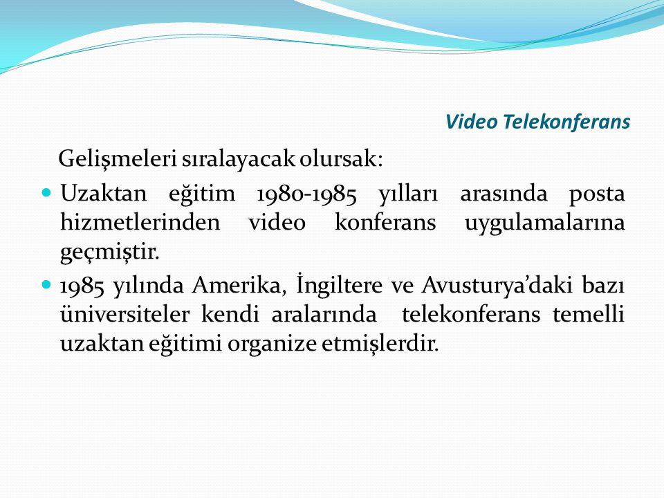 Video Telekonferans Gelişmeleri sıralayacak olursak: Uzaktan eğitim 1980-1985 yılları arasında posta hizmetlerinden video konferans uygulamalarına geç