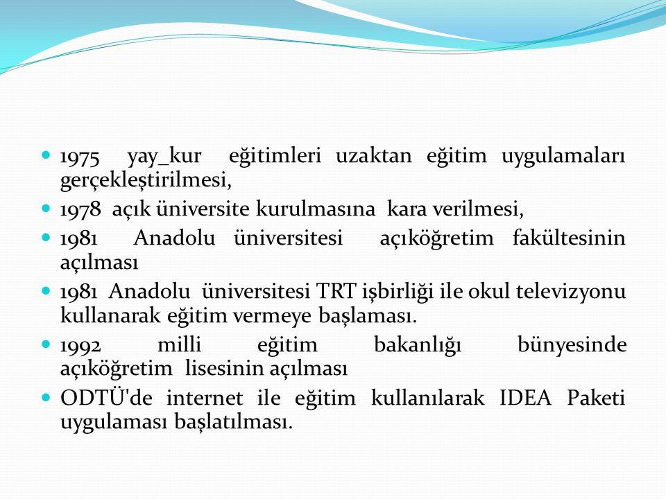 1975 yay_kur eğitimleri uzaktan eğitim uygulamaları gerçekleştirilmesi, 1978 açık üniversite kurulmasına kara verilmesi, 1981 Anadolu üniversitesi açı