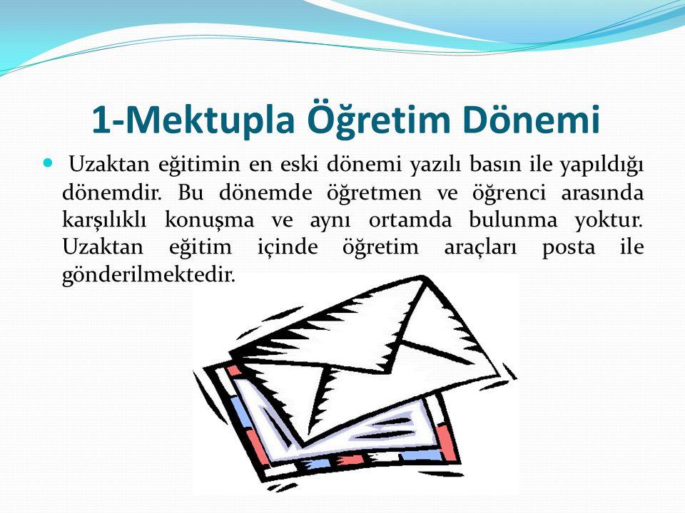 1-Mektupla Öğretim Dönemi Uzaktan eğitimin en eski dönemi yazılı basın ile yapıldığı dönemdir. Bu dönemde öğretmen ve öğrenci arasında karşılıklı konu