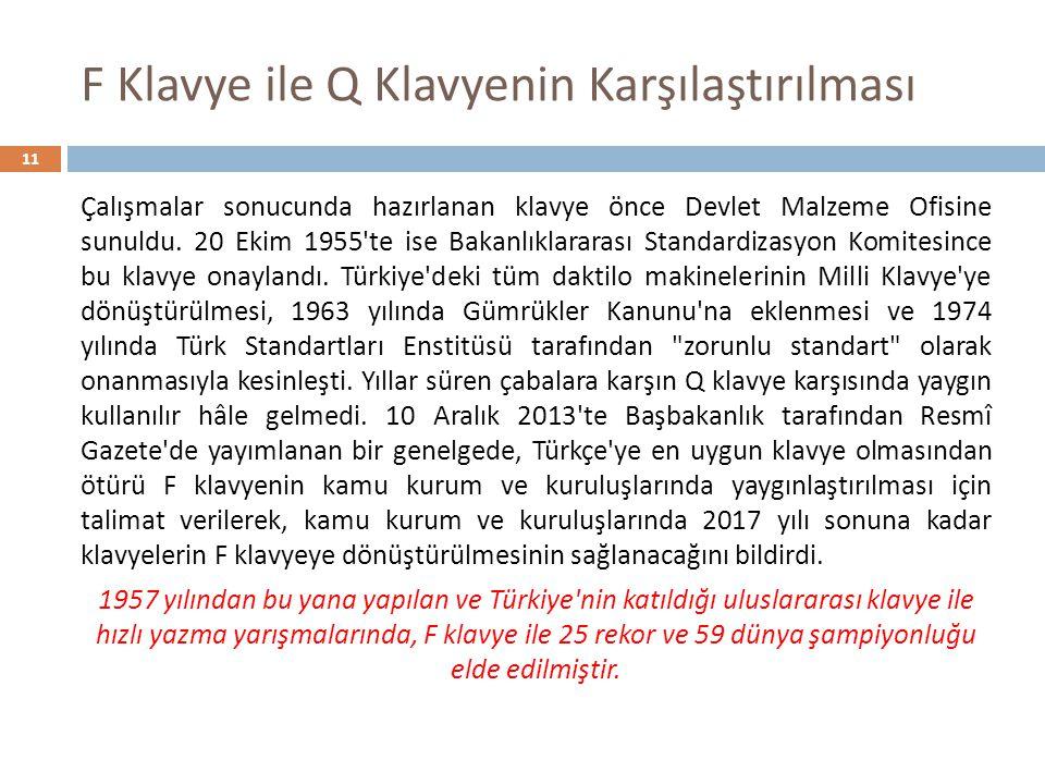 F Klavye ile Q Klavyenin Karşılaştırılması 11 Çalışmalar sonucunda hazırlanan klavye önce Devlet Malzeme Ofisine sunuldu. 20 Ekim 1955'te ise Bakanlık