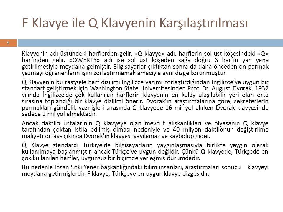 F Klavye ile Q Klavyenin Karşılaştırılması 10 Türkçe için ideal bir klavye çalışmalarına başlayan ilk isim, bu çalışmaları Millî Eğitim Bakanlığı ile işbirliği içinde gerçekleştiren daktilo öğretmeni İhsan Sıtkı Yener di.