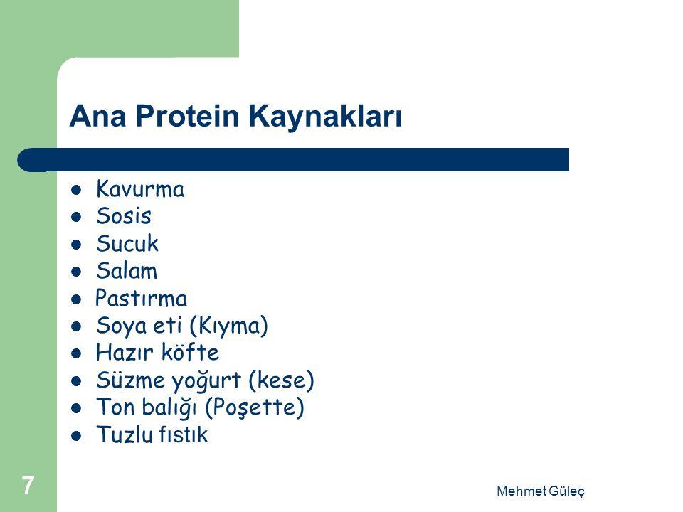 Ana Protein Kaynakları Kavurma Sosis Sucuk Salam Pastırma Soya eti (Kıyma) Hazır köfte Süzme yoğurt (kese) Ton balığı (Poşette) Tuzlu fıstık Mehmet Gü