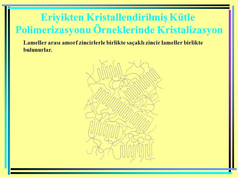 Eriyikten Kristallendirilmiş Kütle Polimerizasyonu Örneklerinde Kristalizasyon Lameller arası amorf zincirlerle birlikte saçaklı zincir lameller birli