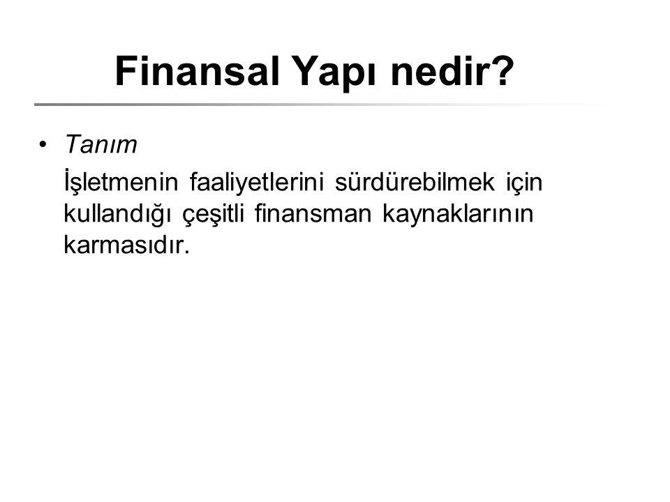 Finansal Yapı nedir? Tanım İşletmenin faaliyetlerini sürdürebilmek için kullandığı çeşitli finansman kaynaklarının karmasıdır.