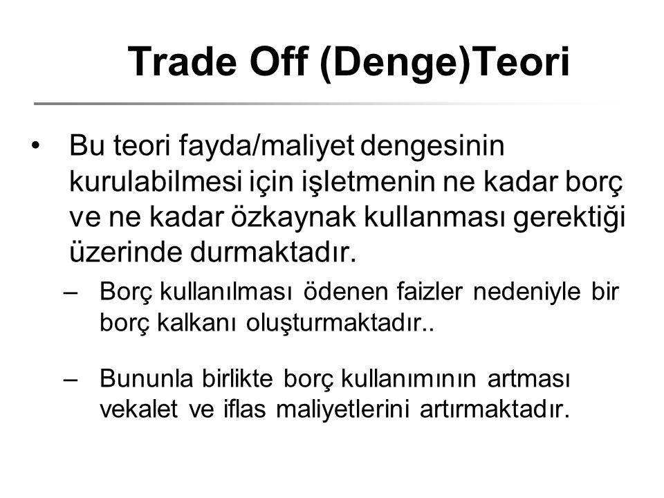 Trade Off (Denge)Teori Bu teori fayda/maliyet dengesinin kurulabilmesi için işletmenin ne kadar borç ve ne kadar özkaynak kullanması gerektiği üzerind