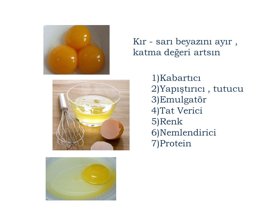 1)Kabartıcı 2)Yapıştırıcı, tutucu 3)Emulgatör 4)Tat Verici 5)Renk 6)Nemlendirici 7)Protein Kır - sarı beyazını ayır, katma değeri artsın