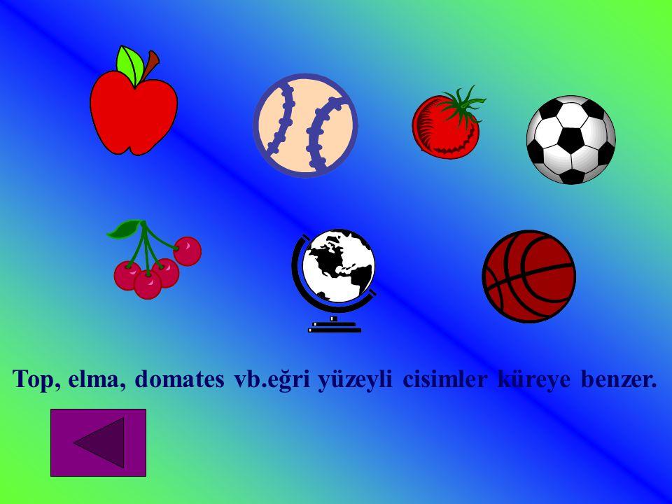 Top, elma, domates vb.eğri yüzeyli cisimler küreye benzer.