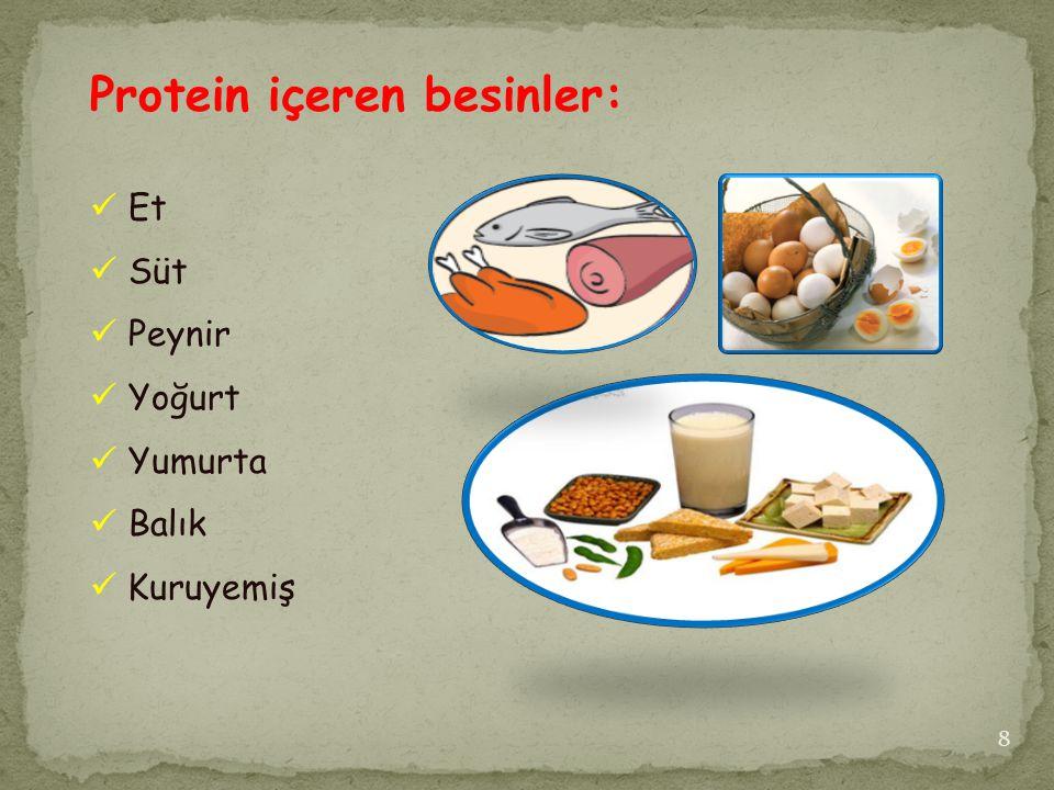 Protein içeren besinler: Et Süt Peynir Yoğurt Yumurta Balık Kuruyemiş 8