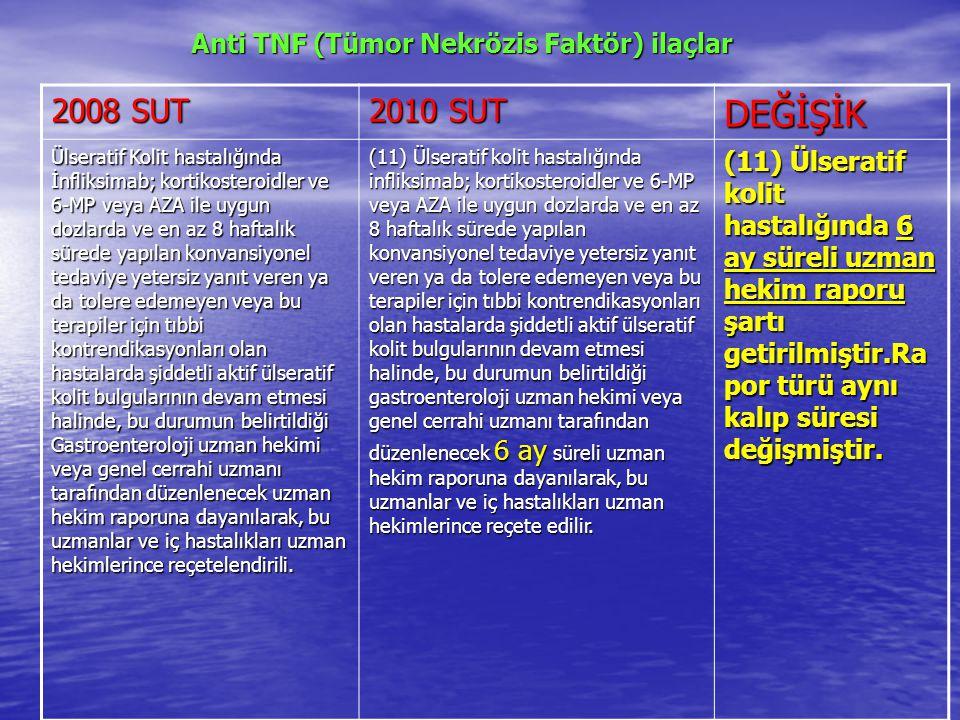 Anti TNF (Tümor Nekrözis Faktör) ilaçlar Anti TNF (Tümor Nekrözis Faktör) ilaçlar 2008 SUT 2010 SUT DEĞİŞİK Ülseratif Kolit hastalığında İnfliksimab; kortikosteroidler ve 6-MP veya AZA ile uygun dozlarda ve en az 8 haftalık sürede yapılan konvansiyonel tedaviye yetersiz yanıt veren ya da tolere edemeyen veya bu terapiler için tıbbi kontrendikasyonları olan hastalarda şiddetli aktif ülseratif kolit bulgularının devam etmesi halinde, bu durumun belirtildiği Gastroenteroloji uzman hekimi veya genel cerrahi uzmanı tarafından düzenlenecek uzman hekim raporuna dayanılarak, bu uzmanlar ve iç hastalıkları uzman hekimlerince reçetelendirili.