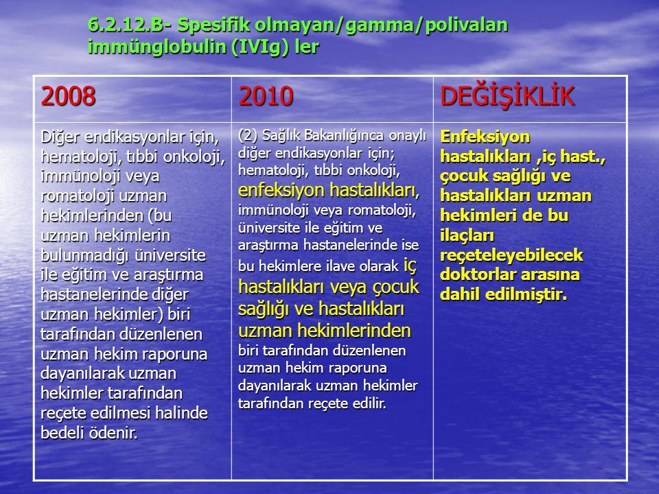 6.2.12.B- Spesifik olmayan/gamma/polivalan immünglobulin (IVIg) ler 20082010DEĞİŞİKLİK Diğer endikasyonlar için, hematoloji, tıbbi onkoloji, immünoloji veya romatoloji uzman hekimlerinden (bu uzman hekimlerin bulunmadığı üniversite ile eğitim ve araştırma hastanelerinde diğer uzman hekimler) biri tarafından düzenlenen uzman hekim raporuna dayanılarak uzman hekimler tarafından reçete edilmesi halinde bedeli ödenir.