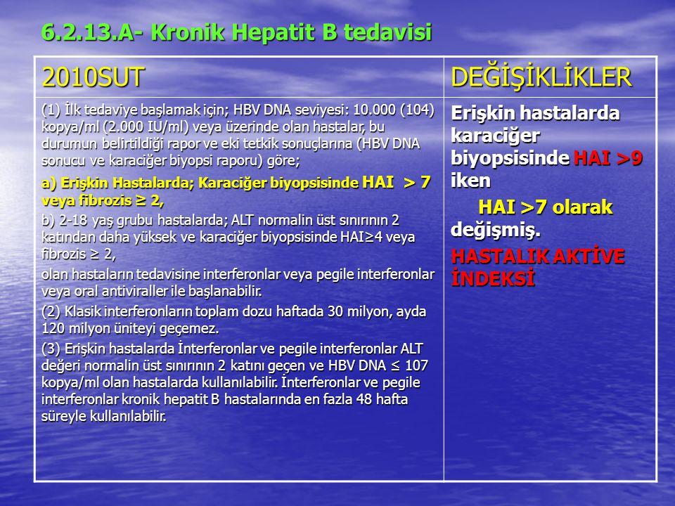6.2.13.A- Kronik Hepatit B tedavisi 2010SUTDEĞİŞİKLİKLER (1) İlk tedaviye başlamak için; HBV DNA seviyesi: 10.000 (104) kopya/ml (2.000 IU/ml) veya üzerinde olan hastalar, bu durumun belirtildiği rapor ve eki tetkik sonuçlarına (HBV DNA sonucu ve karaciğer biyopsi raporu) göre; a) Erişkin Hastalarda; Karaciğer biyopsisinde HAI > 7 veya fibrozis ≥ 2, b) 2-18 yaş grubu hastalarda; ALT normalin üst sınırının 2 katından daha yüksek ve karaciğer biyopsisinde HAI≥4 veya fibrozis ≥ 2, olan hastaların tedavisine interferonlar veya pegile interferonlar veya oral antiviraller ile başlanabilir.