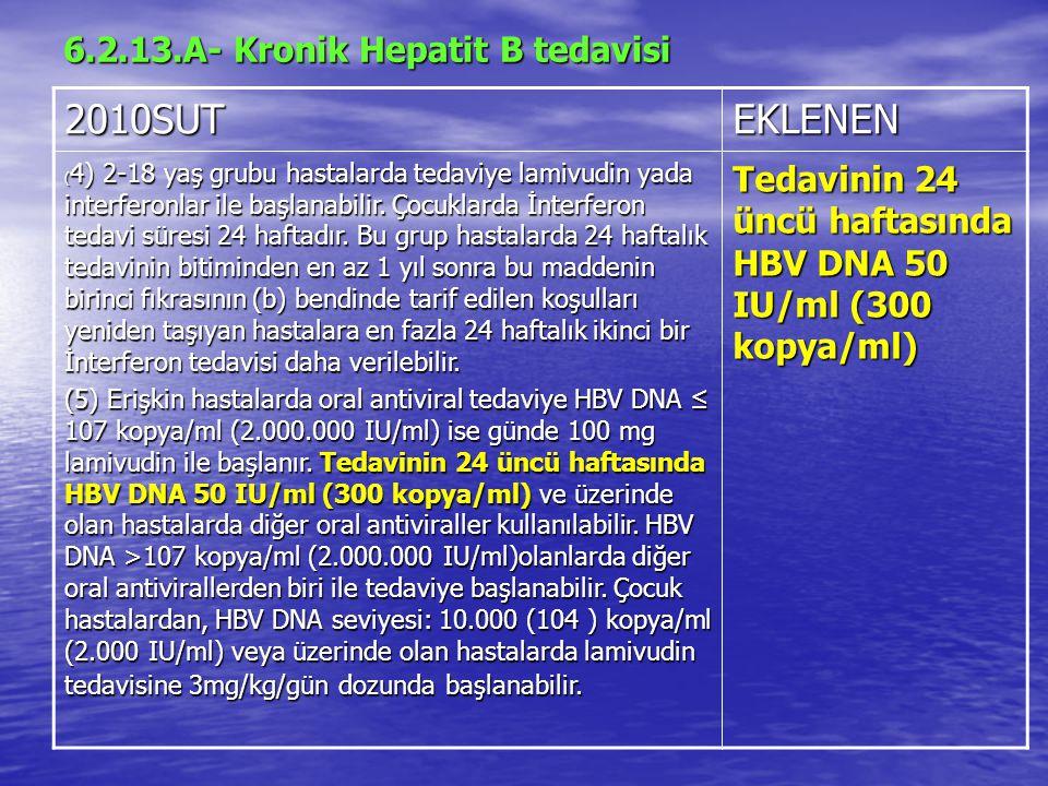 6.2.13.A- Kronik Hepatit B tedavisi 2010SUTEKLENEN ( 4) 2-18 yaş grubu hastalarda tedaviye lamivudin yada interferonlar ile başlanabilir.