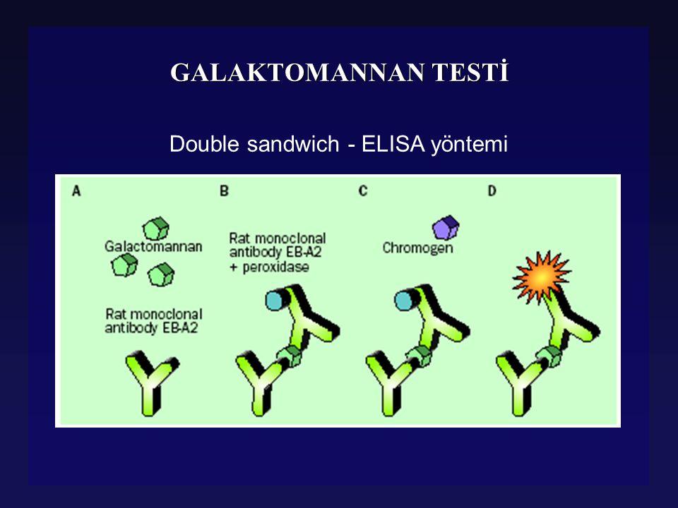 GALAKTOMANNAN TESTİ l Potansiyel erken tanı yöntemi l Serumda ve diğer vücut sıvılarında yapılabilir l BAL, BOS, İDRAR l Nötropenik hastalarda aspergillozise yönelik takip amaçlı kullanımı hızla artıyor l Potansiyel erken tanı yöntemi l Serumda ve diğer vücut sıvılarında yapılabilir l BAL, BOS, İDRAR l Nötropenik hastalarda aspergillozise yönelik takip amaçlı kullanımı hızla artıyor Boutboul F, Clinical İnfect Dis, 2002, Stynen D, J Clin Microbiol, 1995, Verveij, Lancet ID, 2004, Verweij P, J Clin Microbiol, 1995