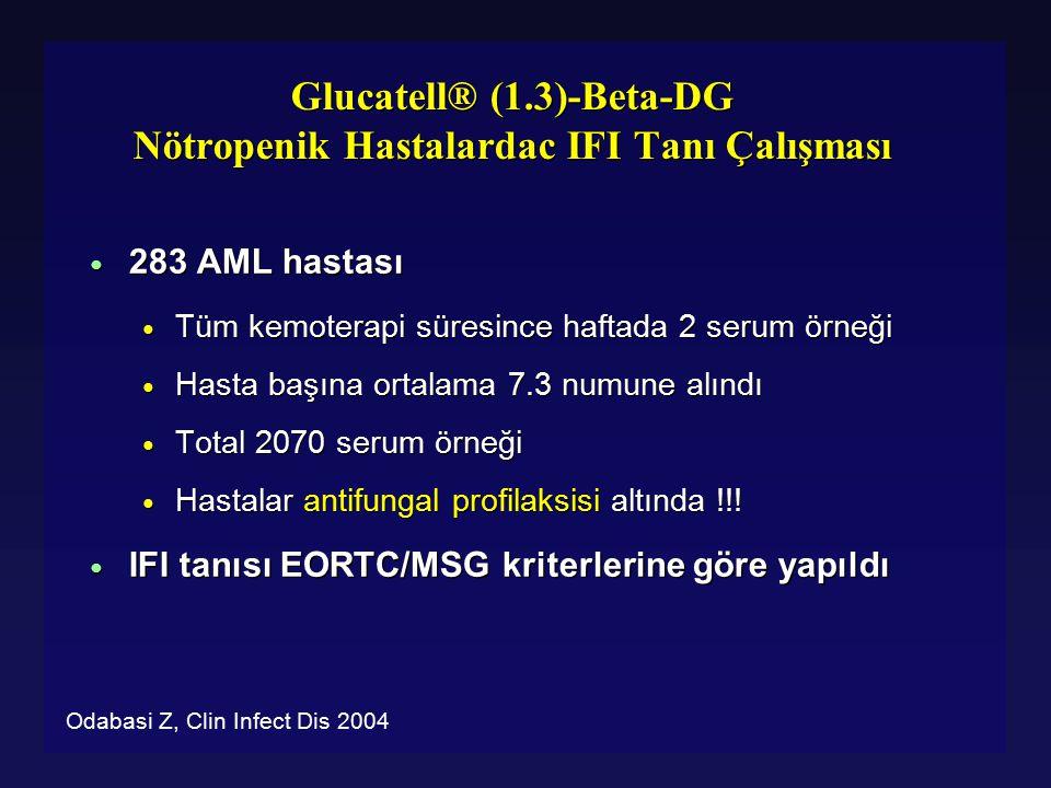 Glucatell® (1.3)-Beta-DG Nötropenik Hastalardac IFI Tanı Çalışması ● 283 AML hastası ● Tüm kemoterapi süresince haftada 2 serum örneği ● Hasta başına