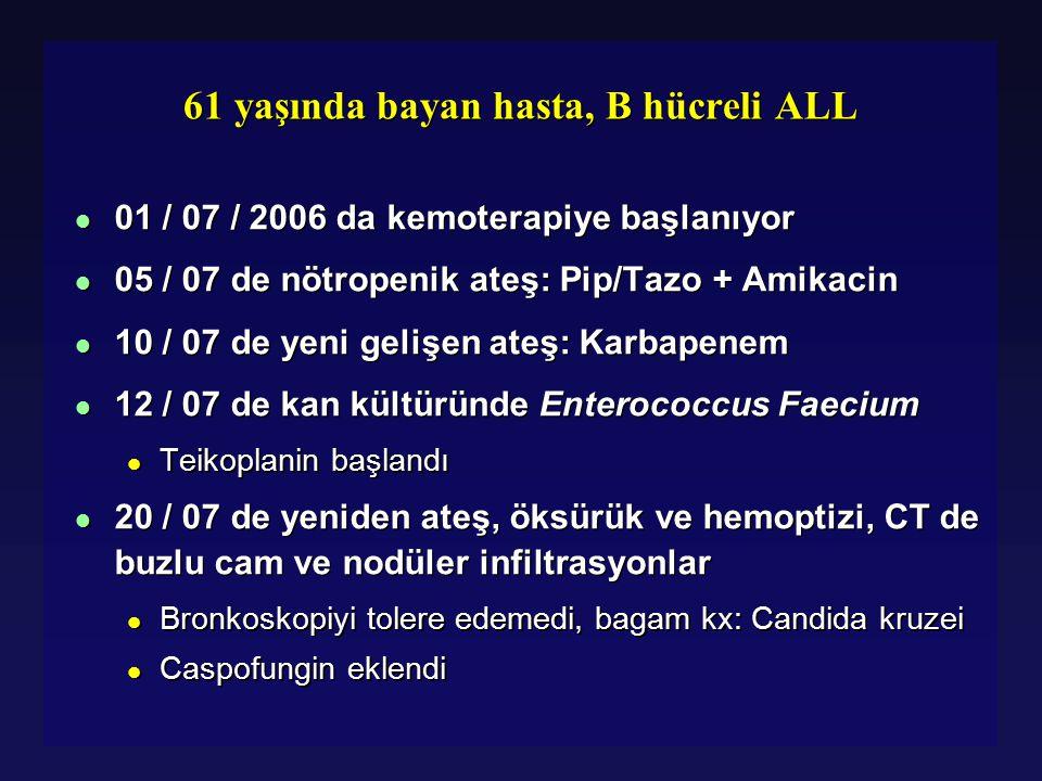 61 yaşında bayan hasta, B hücreli ALL l 01 / 07 / 2006 da kemoterapiye başlanıyor l 05 / 07 de nötropenik ateş: Pip/Tazo + Amikacin l 10 / 07 de yeni