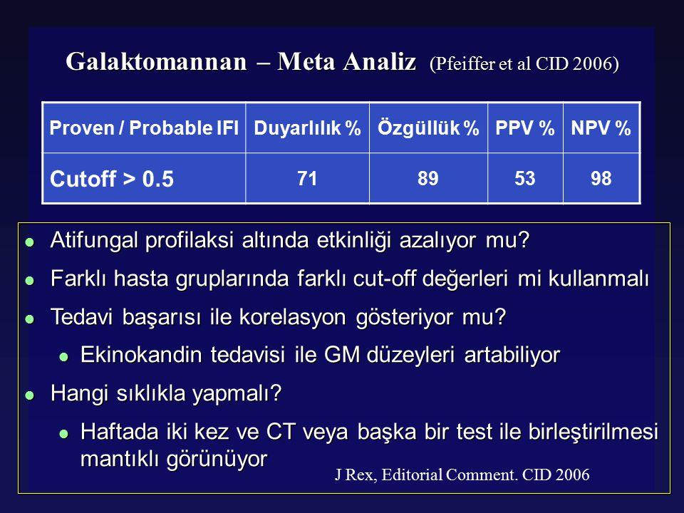 Glucatell® (1.3)-Beta-DG Beta Glukan  serum örneği sayısı Kanıtlanmış veya Yüksek Olasılıklı IFI % S% Sp% PPV% NPV 1  result 1009043100 > 2  results 65965797 > 3  örnek 60998096 Odabasi Z, Clin Infect Dis 2004