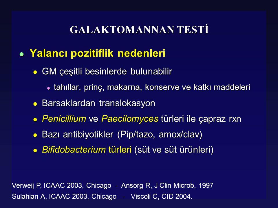 Piperacillin Tazobactam Alanlarda GM Yalancı Pozitifliği (Viscoli C, CID 2004) l 1999 – 2003 arasında GM pozitifliği %10 dan %36 ⇈ l Piperacillin / Tazobactam ilişkisi (p<.001) l Piperacillin Penicillium türlerinden üretilir l Penicillium duvarında galactomannan bulunur l Amox/clav ile yalancı pozitiflik (Mattei Daniele 2004 JCM) l 3 farklı batch: GM pozitif ama aspergillus DNA negatif l 1999 – 2003 arasında GM pozitifliği %10 dan %36 ⇈ l Piperacillin / Tazobactam ilişkisi (p<.001) l Piperacillin Penicillium türlerinden üretilir l Penicillium duvarında galactomannan bulunur l Amox/clav ile yalancı pozitiflik (Mattei Daniele 2004 JCM) l 3 farklı batch: GM pozitif ama aspergillus DNA negatif Pip/Tazo alanlarPip/Tazo almayanlar GM Pozitiflik%74 (17/23)%11 (4/36)