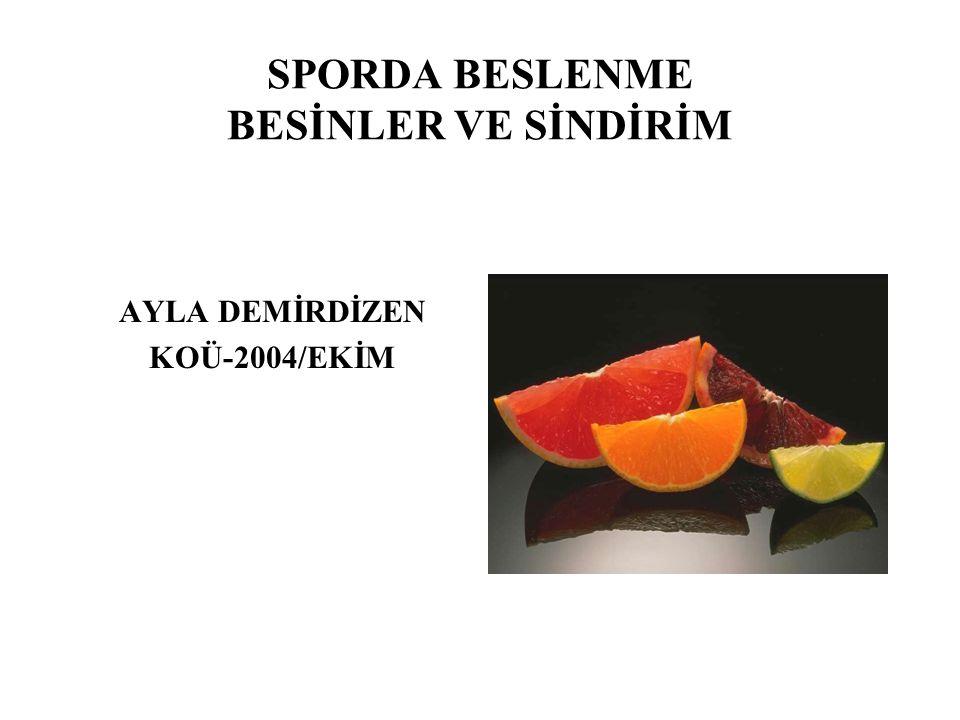 SPORDA BESLENME BESİNLER VE SİNDİRİM AYLA DEMİRDİZEN KOÜ-2004/EKİM