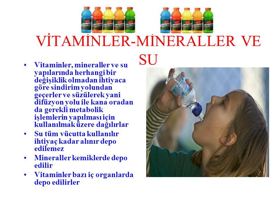 VİTAMİNLER-MİNERALLER VE SU Vitaminler, mineraller ve su yapılarında herhangi bir değişiklik olmadan ihtiyaca göre sindirim yolundan geçerler ve süzül