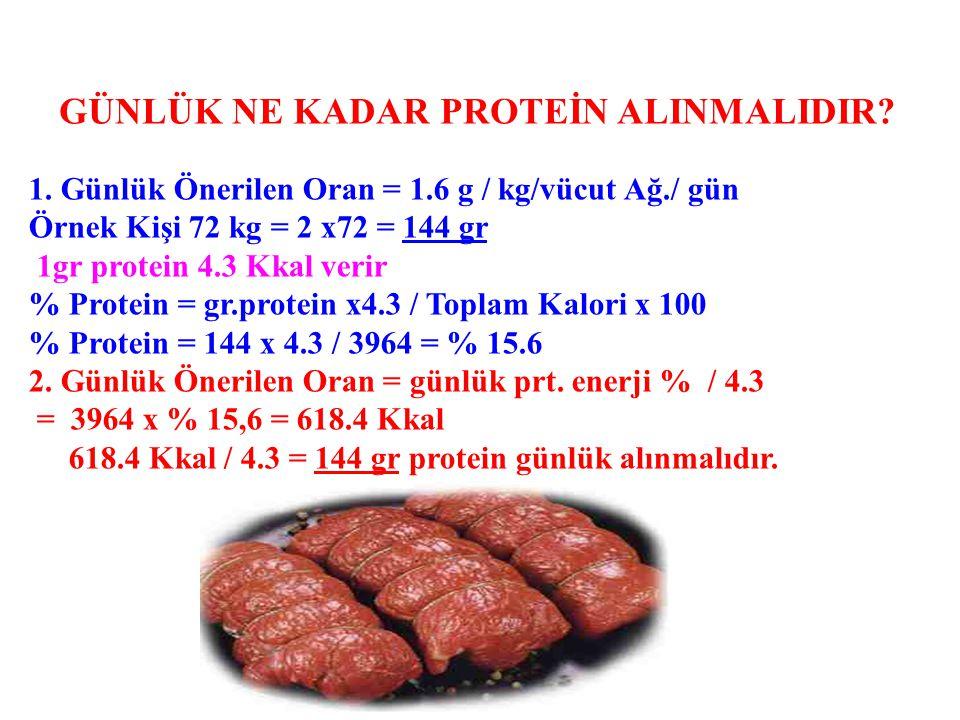 1. Günlük Önerilen Oran = 1.6 g / kg/vücut Ağ./ gün Örnek Kişi 72 kg = 2 x72 = 144 gr 1gr protein 4.3 Kkal verir % Protein = gr.protein x4.3 / Toplam