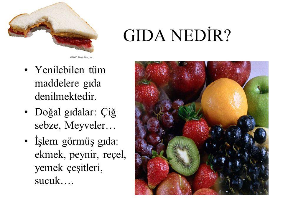 GIDA NEDİR? Yenilebilen tüm maddelere gıda denilmektedir. Doğal gıdalar: Çiğ sebze, Meyveler… İşlem görmüş gıda: ekmek, peynir, reçel, yemek çeşitleri