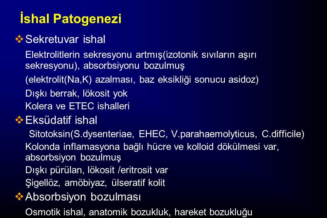 İshal Patogenezi  Sekretuvar ishal Elektrolitlerin sekresyonu artmış(izotonik sıvıların aşırı sekresyonu), absorbsiyonu bozulmuş (elektrolit(Na,K) az
