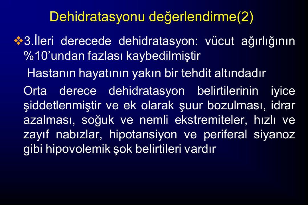 Dehidratasyonu değerlendirme(2)  3.İleri derecede dehidratasyon: vücut ağırlığının %10'undan fazlası kaybedilmiştir Hastanın hayatının yakın bir tehd