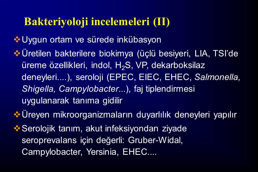 Bakteriyoloji incelemeleri (II)  Uygun ortam ve sürede inkübasyon  Üretilen bakterilere biokimya (üçlü besiyeri, LIA, TSI'de üreme özellikleri, indo