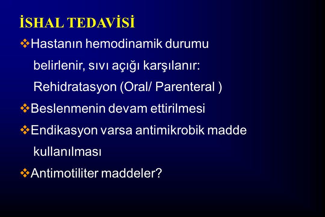 İSHAL TEDAVİSİ  Hastanın hemodinamik durumu belirlenir, sıvı açığı karşılanır: Rehidratasyon (Oral/ Parenteral )  Beslenmenin devam ettirilmesi  En