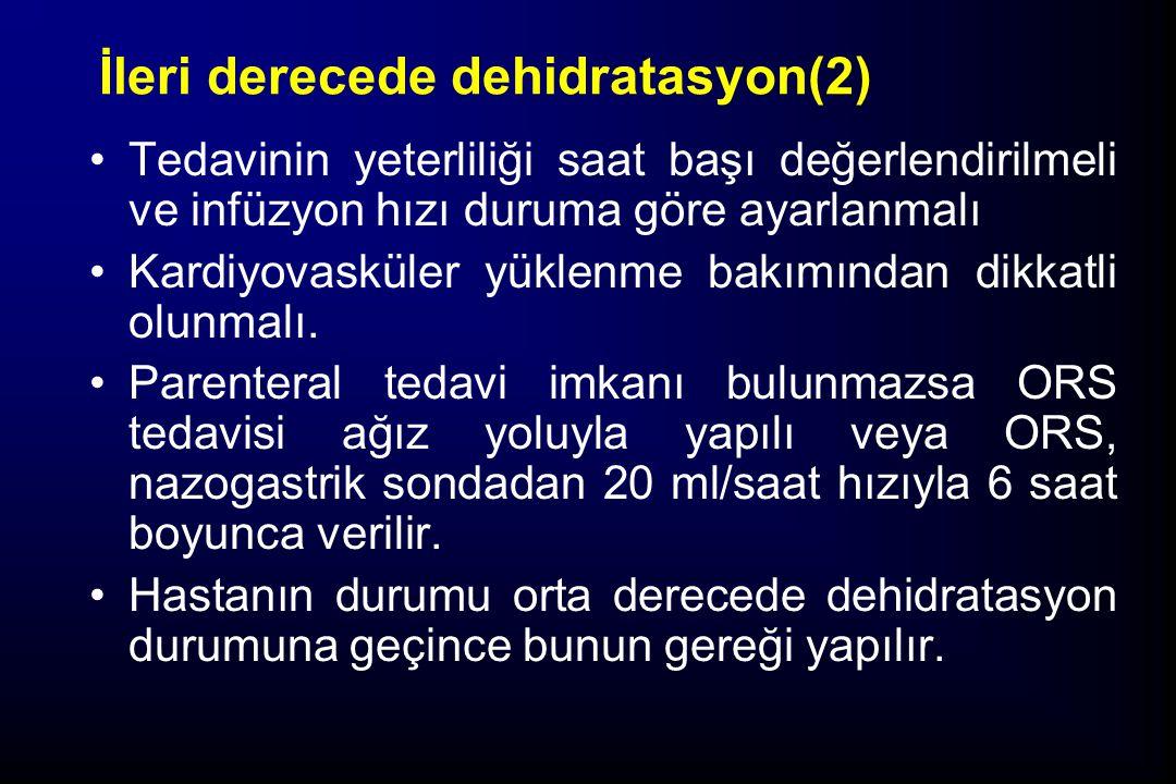 İleri derecede dehidratasyon(2) Tedavinin yeterliliği saat başı değerlendirilmeli ve infüzyon hızı duruma göre ayarlanmalı Kardiyovasküler yüklenme ba