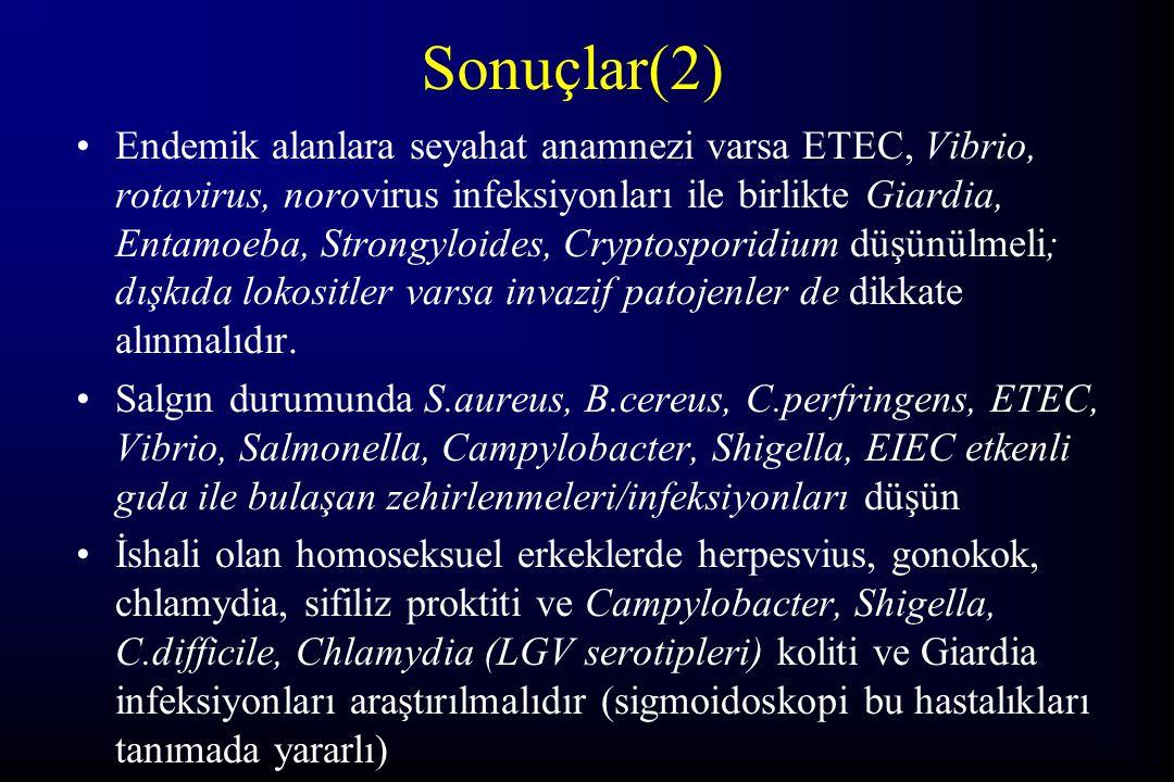 Sonuçlar(2) Endemik alanlara seyahat anamnezi varsa ETEC, Vibrio, rotavirus, norovirus infeksiyonları ile birlikte Giardia, Entamoeba, Strongyloides,