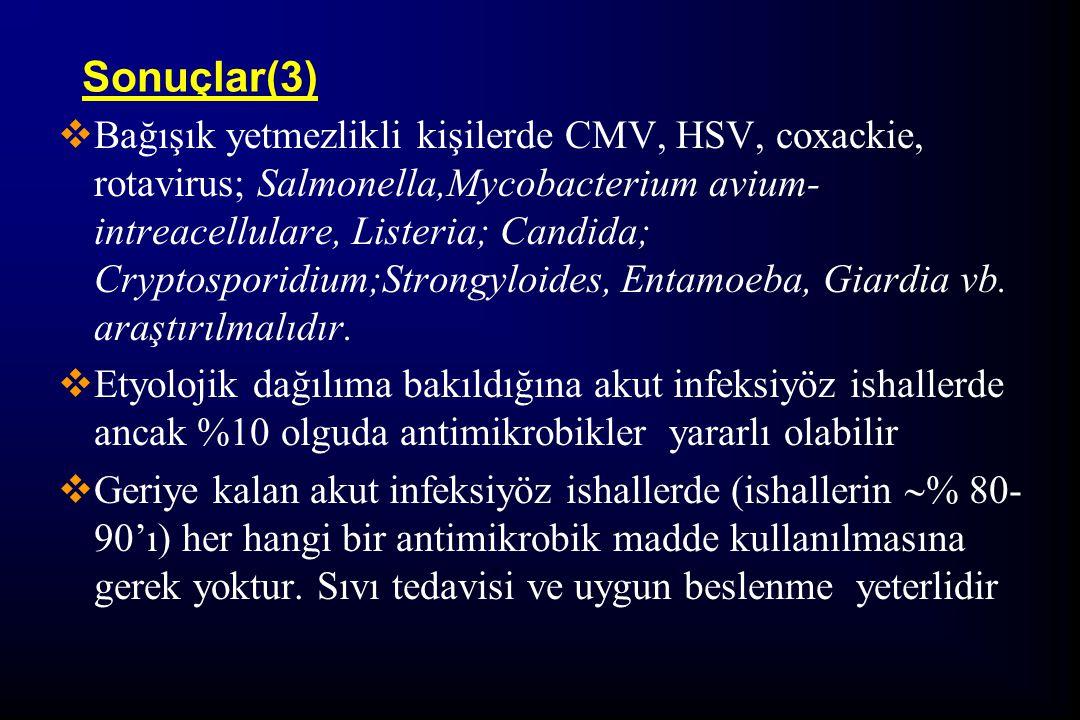 Sonuçlar(3)  Bağışık yetmezlikli kişilerde CMV, HSV, coxackie, rotavirus; Salmonella,Mycobacterium avium- intreacellulare, Listeria; Candida; Cryptos