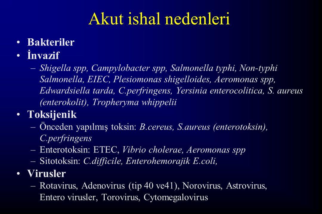 Akut ishal nedenleri Bakteriler İnvazif –Shigella spp, Campylobacter spp, Salmonella typhi, Non-typhi Salmonella, EIEC, Plesiomonas shigelloides, Aero