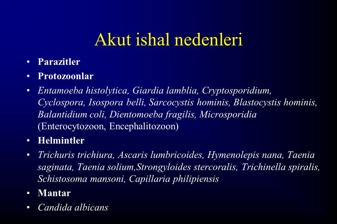 Akut ishal nedenleri Parazitler Protozoonlar Entamoeba histolytica, Giardia lamblia, Cryptosporidium, Cyclospora, Isospora belli, Sarcocystis hominis,