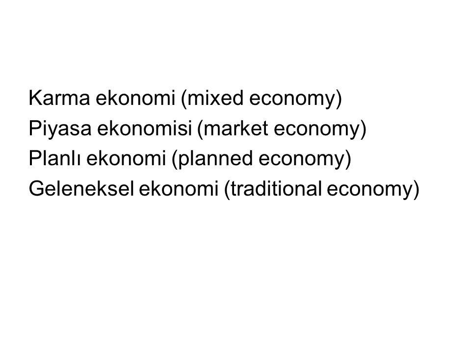 Karma ekonomi (mixed economy) Piyasa ekonomisi (market economy) Planlı ekonomi (planned economy) Geleneksel ekonomi (traditional economy)