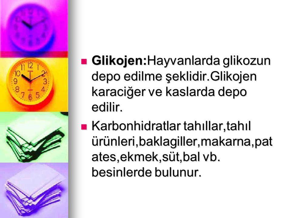 Glikojen:Hayvanlarda glikozun depo edilme şeklidir.Glikojen karaciğer ve kaslarda depo edilir. Glikojen:Hayvanlarda glikozun depo edilme şeklidir.Glik