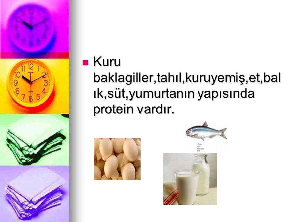 Kuru baklagiller,tahıl,kuruyemiş,et,bal ık,süt,yumurtanın yapısında protein vardır. Kuru baklagiller,tahıl,kuruyemiş,et,bal ık,süt,yumurtanın yapısınd