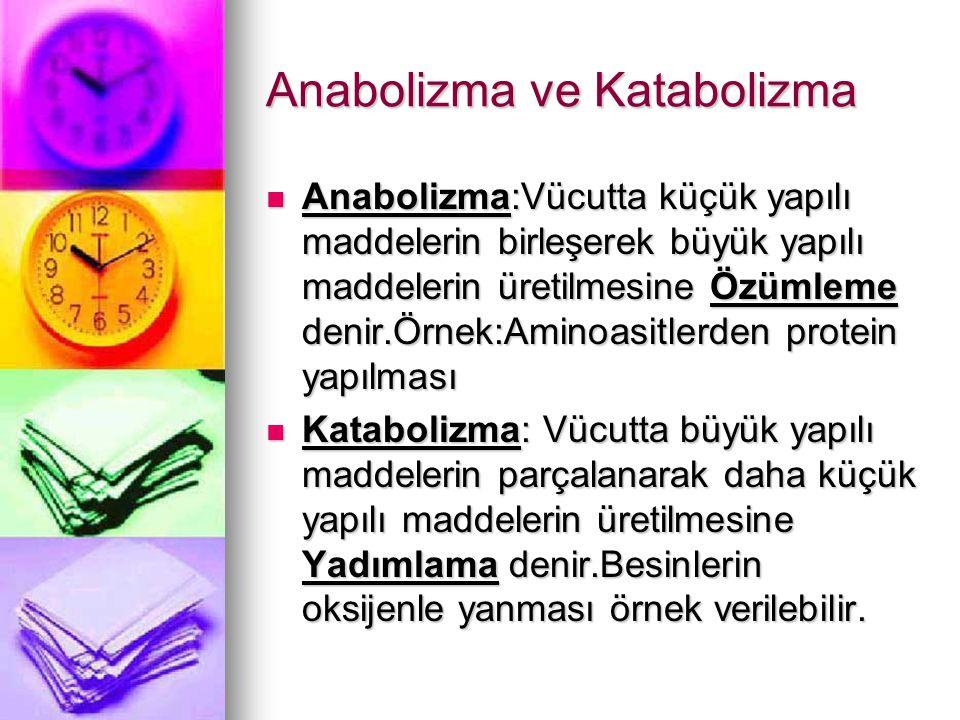 Anabolizma ve Katabolizma Anabolizma:Vücutta küçük yapılı maddelerin birleşerek büyük yapılı maddelerin üretilmesine Özümleme denir.Örnek:Aminoasitler