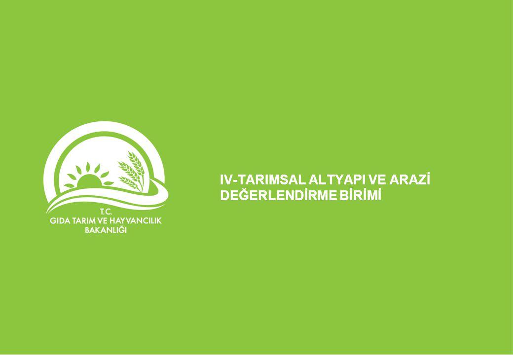 IV-TARIMSAL ALTYAPI VE ARAZİ DEĞERLENDİRME BİRİMİ