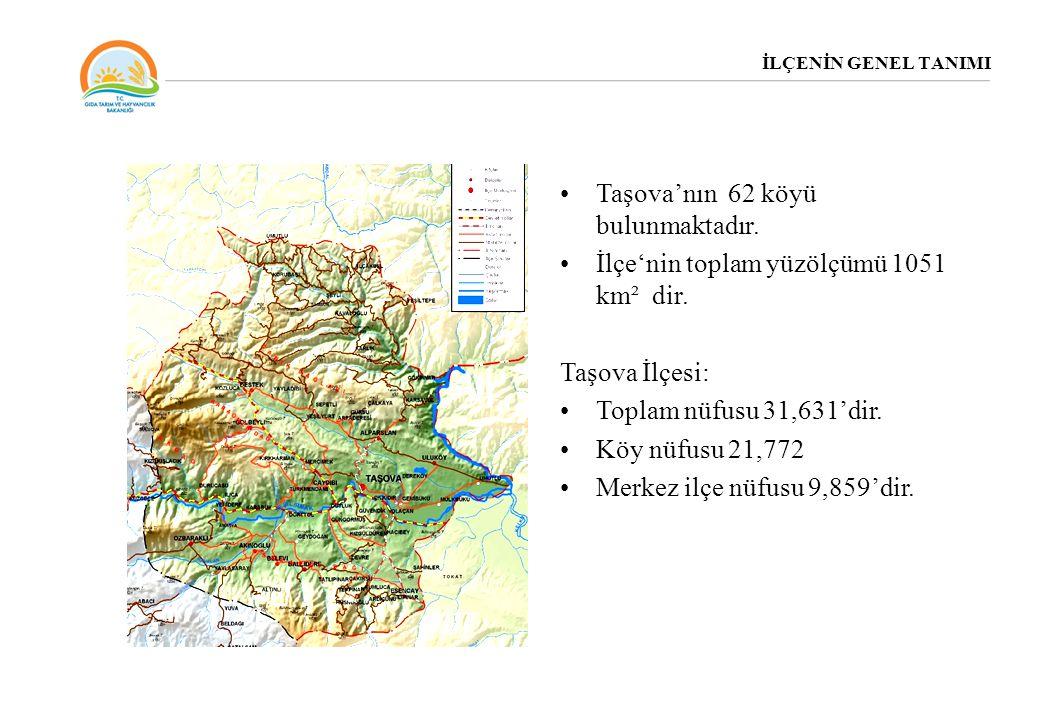 İLÇENİN GENEL TANIMI Taşova'nın 62 köyü bulunmaktadır. İlçe'nin toplam yüzölçümü 1051 km² dir. Taşova İlçesi: Toplam nüfusu 31,631'dir. Köy nüfusu 21,