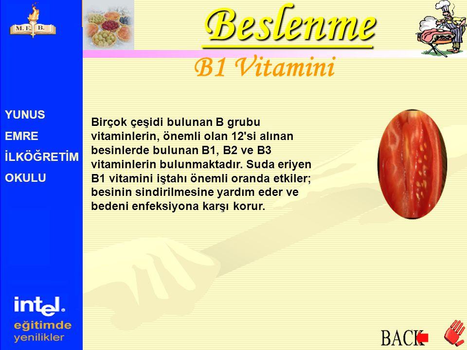 YUNUS EMRE İLKÖĞRETİM OKULU B1 Vitamini Birçok çeşidi bulunan B grubu vitaminlerin, önemli olan 12'si alınan besinlerde bulunan B1, B2 ve B3 vitaminle