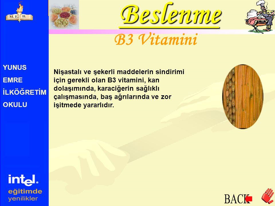 YUNUS EMRE İLKÖĞRETİM OKULU B3 Vitamini Nişastalı ve şekerli maddelerin sindirimi için gerekli olan B3 vitamini, kan dolaşımında, karaciğerin sağlıklı