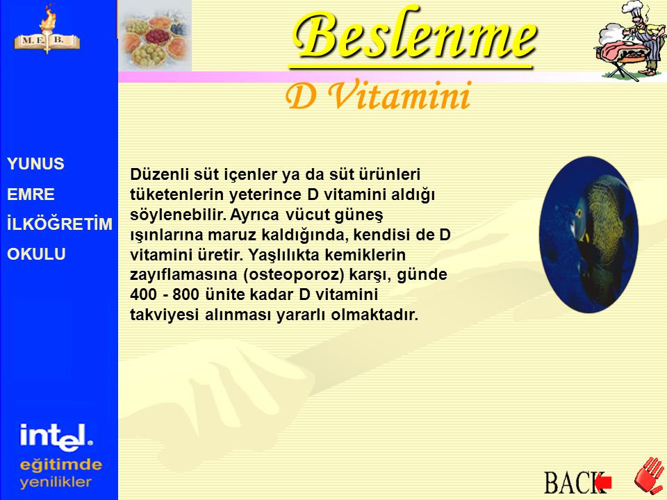 YUNUS EMRE İLKÖĞRETİM OKULU D Vitamini Düzenli süt içenler ya da süt ürünleri tüketenlerin yeterince D vitamini aldığı söylenebilir. Ayrıca vücut güne