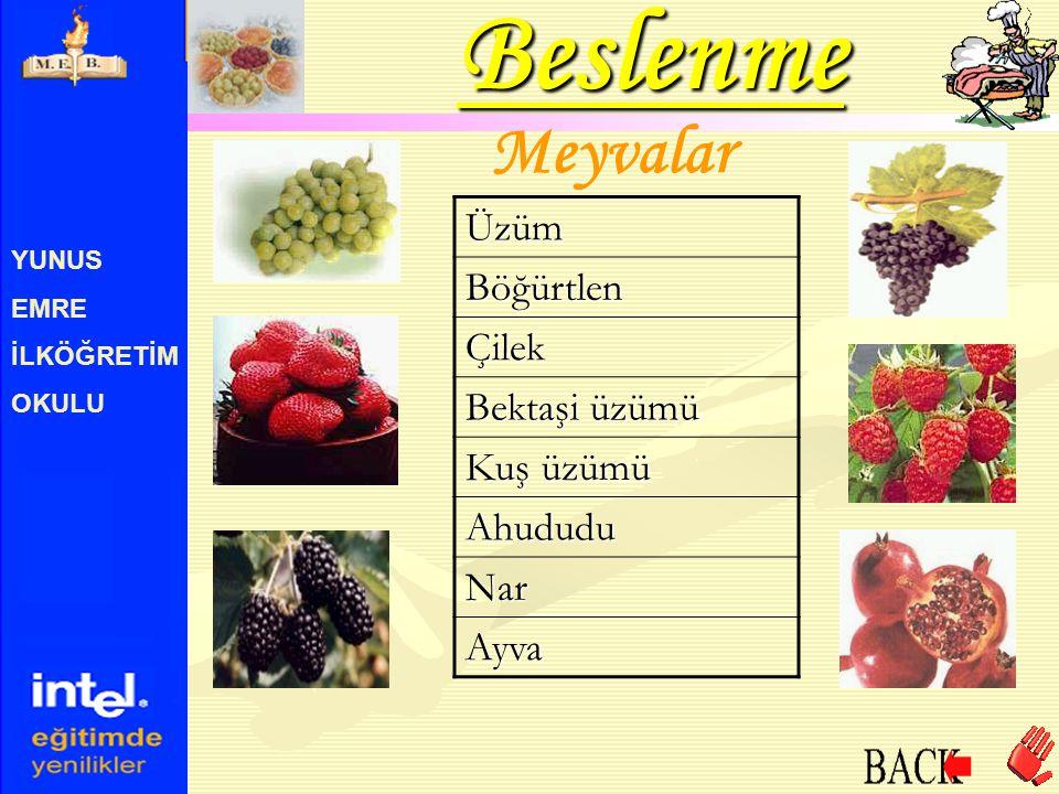 YUNUS EMRE İLKÖĞRETİM OKULU B6 Vitamini Bu vitamin; bira mayası, kepekli un, sebze, marul, arpa, soya fasulyesi, yulaf ve muzda bulunur.