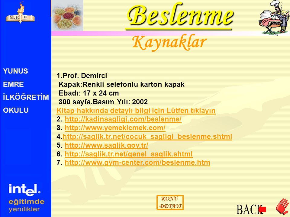 YUNUS EMRE İLKÖĞRETİM OKULU Kaynaklar Beslenme 1.Prof. Demirci Kapak:Renkli selefonlu karton kapak Ebadı: 17 x 24 cm 300 sayfa.Basım Yılı: 2002 Kitap