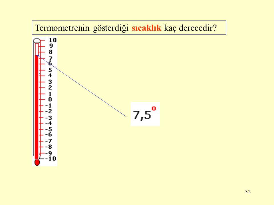 31 Termometrenin gösterdiği sıcaklık kaç derecedir?