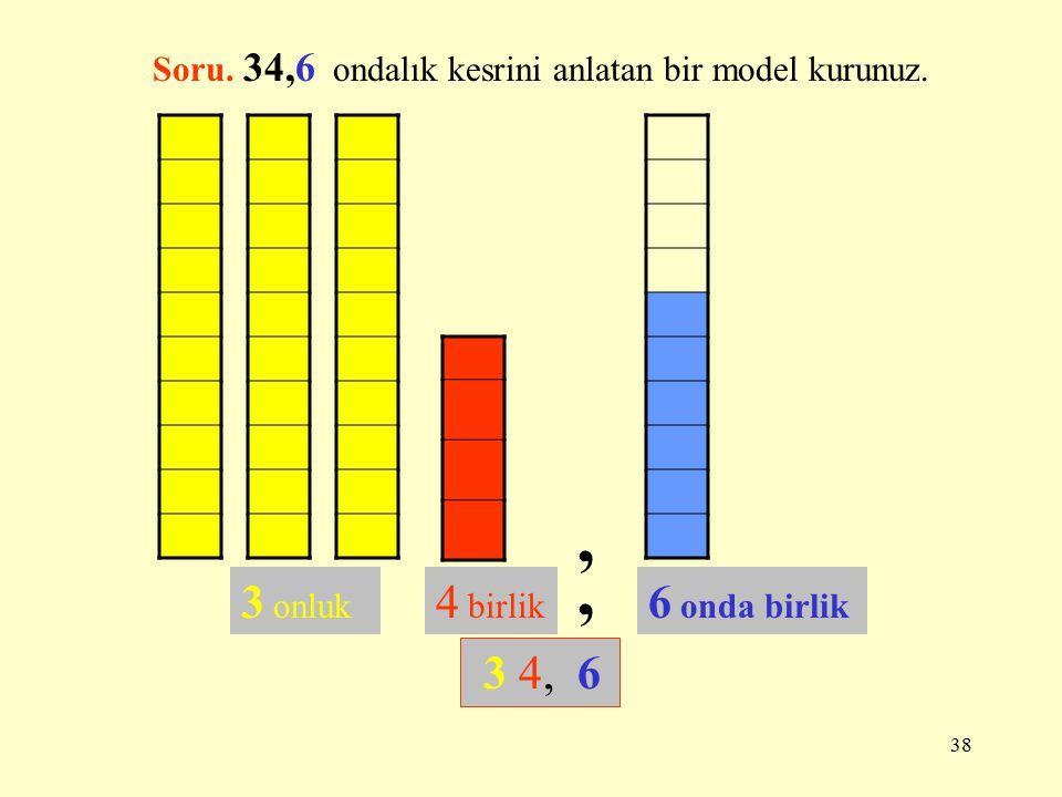 37 ONDALIK KESİRLERİ KESİR OLARAK YAZMAK 1, 2 ONDALIK KESİR KESİR 1,25 23, 078 Soru. 0,234 ondalık kesrini kesir olarak yazınız ve model kurunuz..