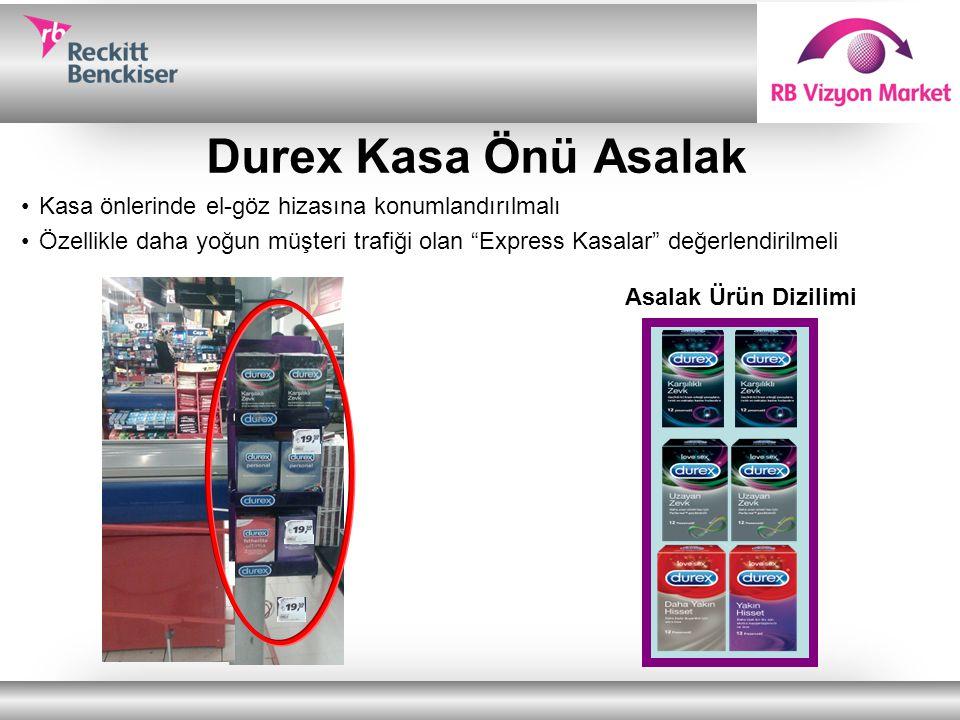 """Durex Kasa Önü Asalak Kasa önlerinde el-göz hizasına konumlandırılmalı Özellikle daha yoğun müşteri trafiği olan """"Express Kasalar"""" değerlendirilmeli A"""