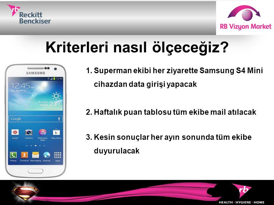 Kriterleri nasıl ölçeceğiz? 1.Superman ekibi her ziyarette Samsung S4 Mini cihazdan data girişi yapacak 2.Haftalık puan tablosu tüm ekibe mail atılaca